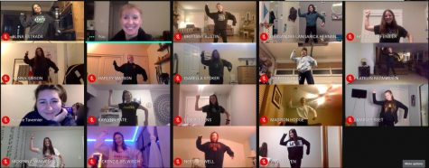 The dance team practices on Google Meets.