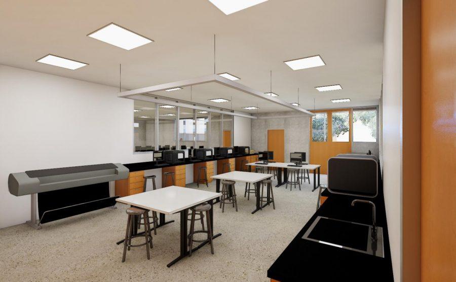 A mock-up of an empty Barlow classroom.