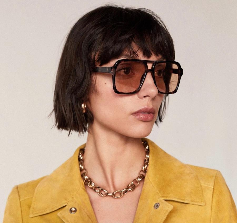 70s big-framed tinted glasses